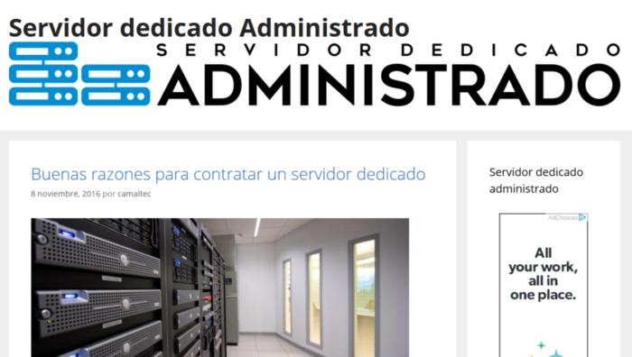 servidor dedicado administrado Presentación blog servidordedicadoadministrado.com