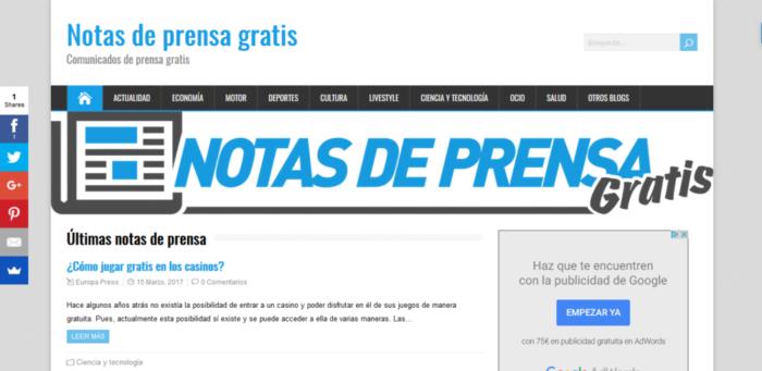 notasdeprensa Publica notas de prensa gratis y mejora tu visibilidad online