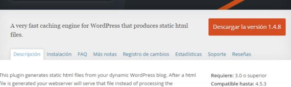 Mejora la velocidad de tu Web con WP Super Cache