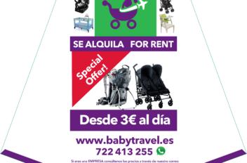 Soporte publicitario vertical para babytravel.es
