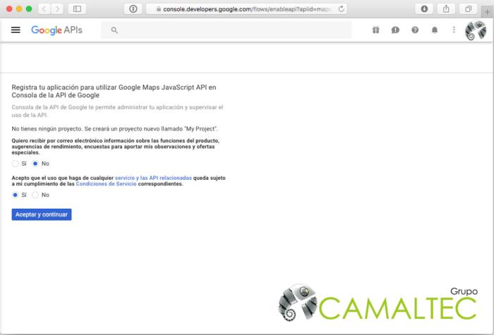 Accede a la Google API Console y nos registramos seleccionado las opciones que se muestran Como obtener una clave API para Google Maps