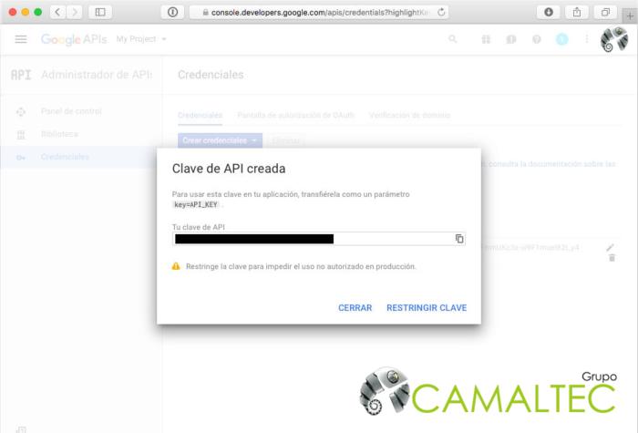 Nos va a aparecer una pequeña ventana donde tendrá la API Como obtener una clave API para Google Maps